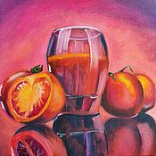 Картины и панно handmade. Livemaster - original item A glass of juice and tomatoes. Handmade.