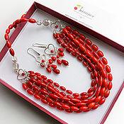 Украшения handmade. Livemaster - original item Silver necklace Red coral POPPY flowers. Handmade.