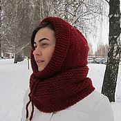 Аксессуары handmade. Livemaster - original item Cap Snood hood dark red