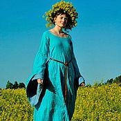 """Костюмы ручной работы. Ярмарка Мастеров - ручная работа """"Наяда"""" платье-блио льняное с широкими рукавами. Handmade."""