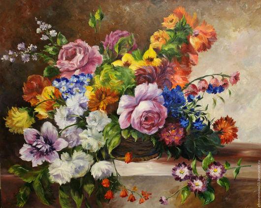 """Картины цветов ручной работы. Ярмарка Мастеров - ручная работа. Купить Картина """"Натюрморт с цветами"""". Handmade. Синий, картина в интерьер"""