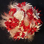 Свадебный салон ручной работы. Ярмарка Мастеров - ручная работа Красный свадебный букет с перьями. Handmade.