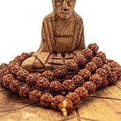 Фен-шуй и эзотерика handmade. Livemaster - original item Buddhist Rosary made of rudraksha seeds with 108 grains of 8 mm. Handmade.