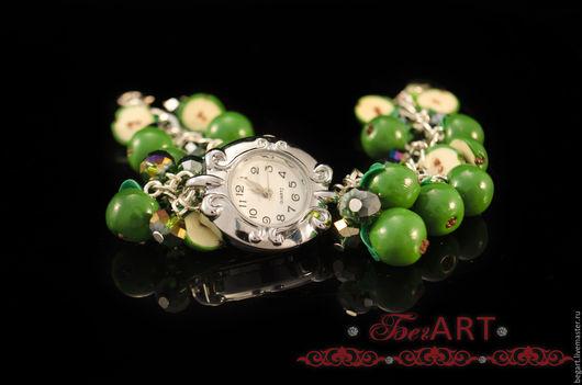 """Браслеты ручной работы. Ярмарка Мастеров - ручная работа. Купить Часы- браслет """"Молодильные яблочки"""". Handmade. Зеленый, часы"""