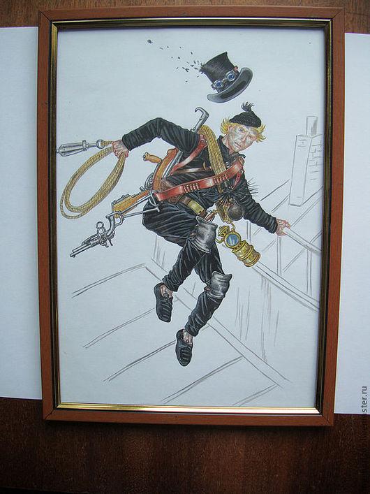 """Люди, ручной работы. Ярмарка Мастеров - ручная работа. Купить Картина """"ГЕРОИ ПАРОВОГО МИРА"""" 02. Handmade. Черный, концепт"""