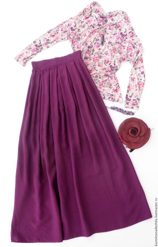 Комплект из длинной юбки и топа `Фиолетовые сны`