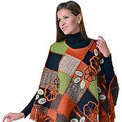 Одежда ручной работы. Ярмарка Мастеров - ручная работа Пончо льняное из разноцветных квадратов (б/р). Handmade.