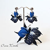 Украшения handmade. Livemaster - original item Blue irises Set jewelry leather brooch and earrings. Handmade.