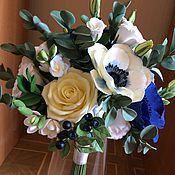 Свадебный салон ручной работы. Ярмарка Мастеров - ручная работа Букет невесты из синих анемонов. Handmade.