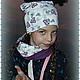 """Шапки и шарфы ручной работы. Шапка и снуд """" Бабочки"""". Натали Гомель. Интернет-магазин Ярмарка Мастеров. Детская, для девочки"""