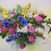 """Картины и панно ручной работы. Ярмарка Мастеров - ручная работа Картина вышитая лентами """"Красота луговых цветов"""". Handmade."""