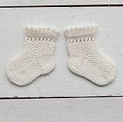 Работы для детей, ручной работы. Ярмарка Мастеров - ручная работа Носочки вязаные для новорожденного, 100% шерсть мериноса. Handmade.