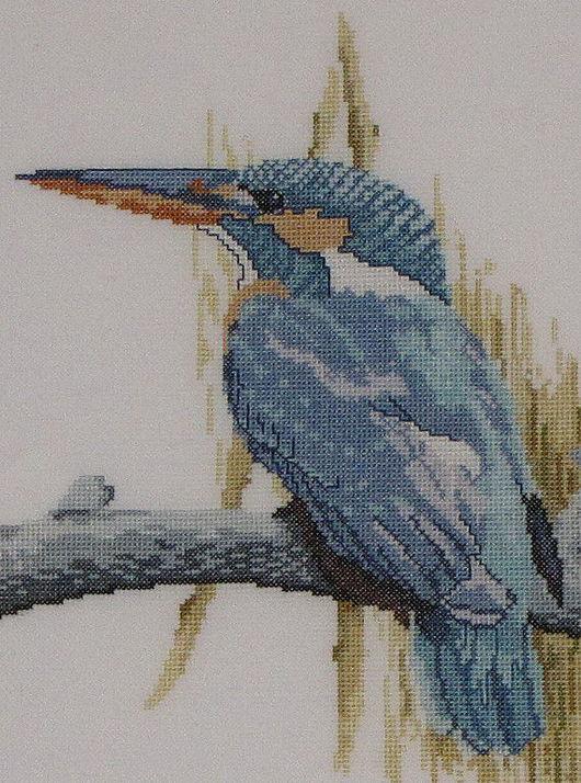 """Животные ручной работы. Ярмарка Мастеров - ручная работа. Купить Вышитая картина """"Зимородок"""". Handmade. Зимородок, птицы, в раме"""