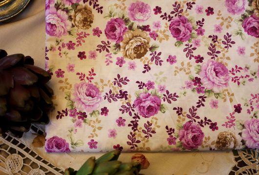Шитье ручной работы. Ярмарка Мастеров - ручная работа. Купить Ткань хлопок премиум Сиреневые розы ( прованс, кантри). Handmade.
