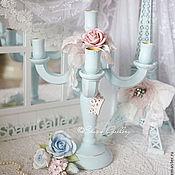 """Для дома и интерьера ручной работы. Ярмарка Мастеров - ручная работа """"Shabby rose"""". Канделябр на 5 свечей, деревянный.. Handmade."""