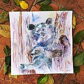 Картины и панно handmade. Livemaster - original item Bears - painting on paper. Handmade.