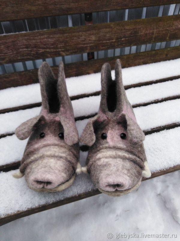"""Обувь ручной работы. Ярмарка Мастеров - ручная работа. Купить Тапочки """"Кабанчик"""". Handmade. Серый, лечебная обувь"""
