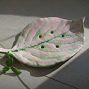 Для дома и интерьера ручной работы. Ярмарка Мастеров - ручная работа Розовый листик,керамическая мыльница. Handmade.