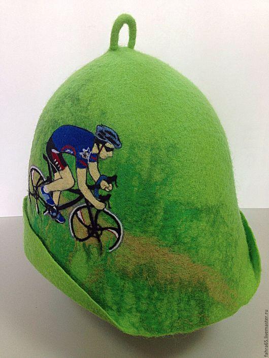 """Банные принадлежности ручной работы. Ярмарка Мастеров - ручная работа. Купить Банная шапка """"Велогонщик"""". Handmade. Зеленый"""
