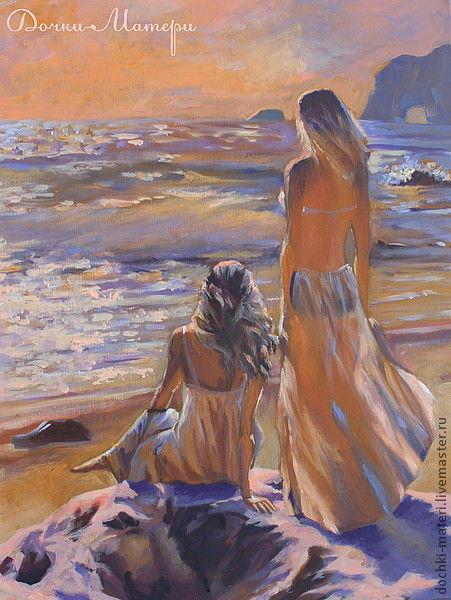 """Люди, ручной работы. Ярмарка Мастеров - ручная работа. Купить Картина """"Морские нимфы"""". Handmade. Море, солнце, закат, рассвет"""