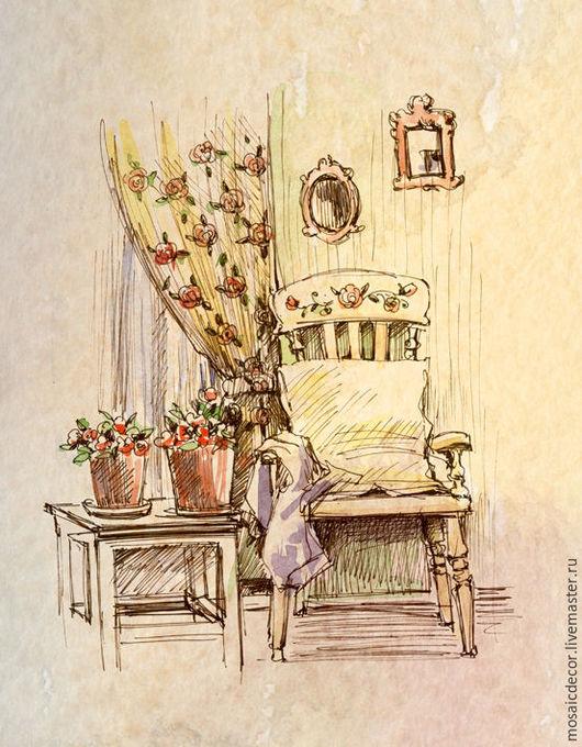 Дизайн интерьеров ручной работы. Ярмарка Мастеров - ручная работа. Купить Интерьеры, зарисовки, акварель. Handmade. Графика, набросок