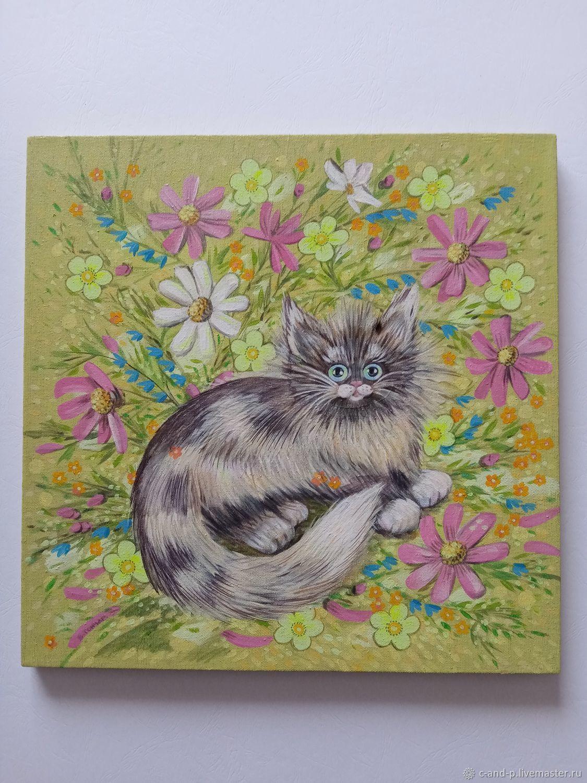 Котенок среди цветов, Картины, Иркутск,  Фото №1