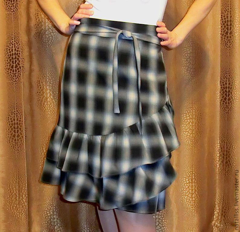Шерстяная юбка с запахом