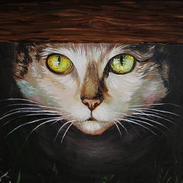 Картины и панно ручной работы. Ярмарка Мастеров - ручная работа Картина маслом Кошка. Handmade.