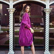 Одежда handmade. Livemaster - original item cardigans: Women`s knitted cardigan spokes oversize color cyclamen. Handmade.