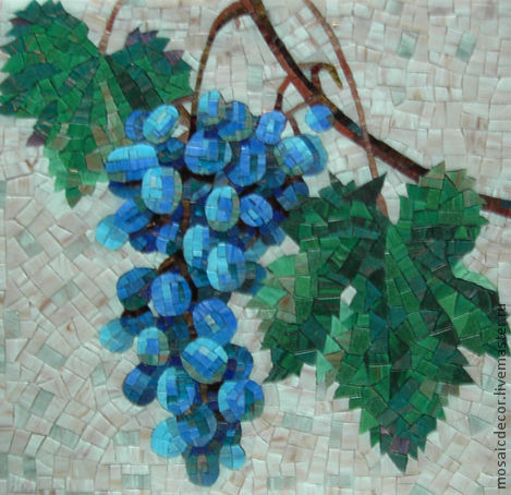 Натюрморт ручной работы. Ярмарка Мастеров - ручная работа. Купить Виноград, мозаичное панно. Handmade. Виноградная гроздь, панно для кухни