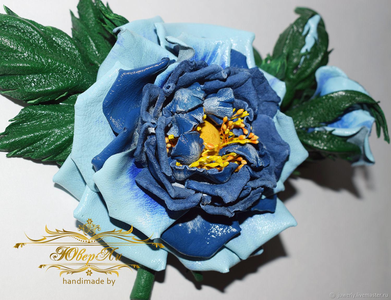 Blue flower leather buy