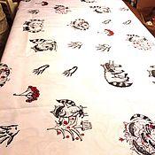 Подарки к праздникам ручной работы. Ярмарка Мастеров - ручная работа Скатерть с паттерном еноты. Handmade.