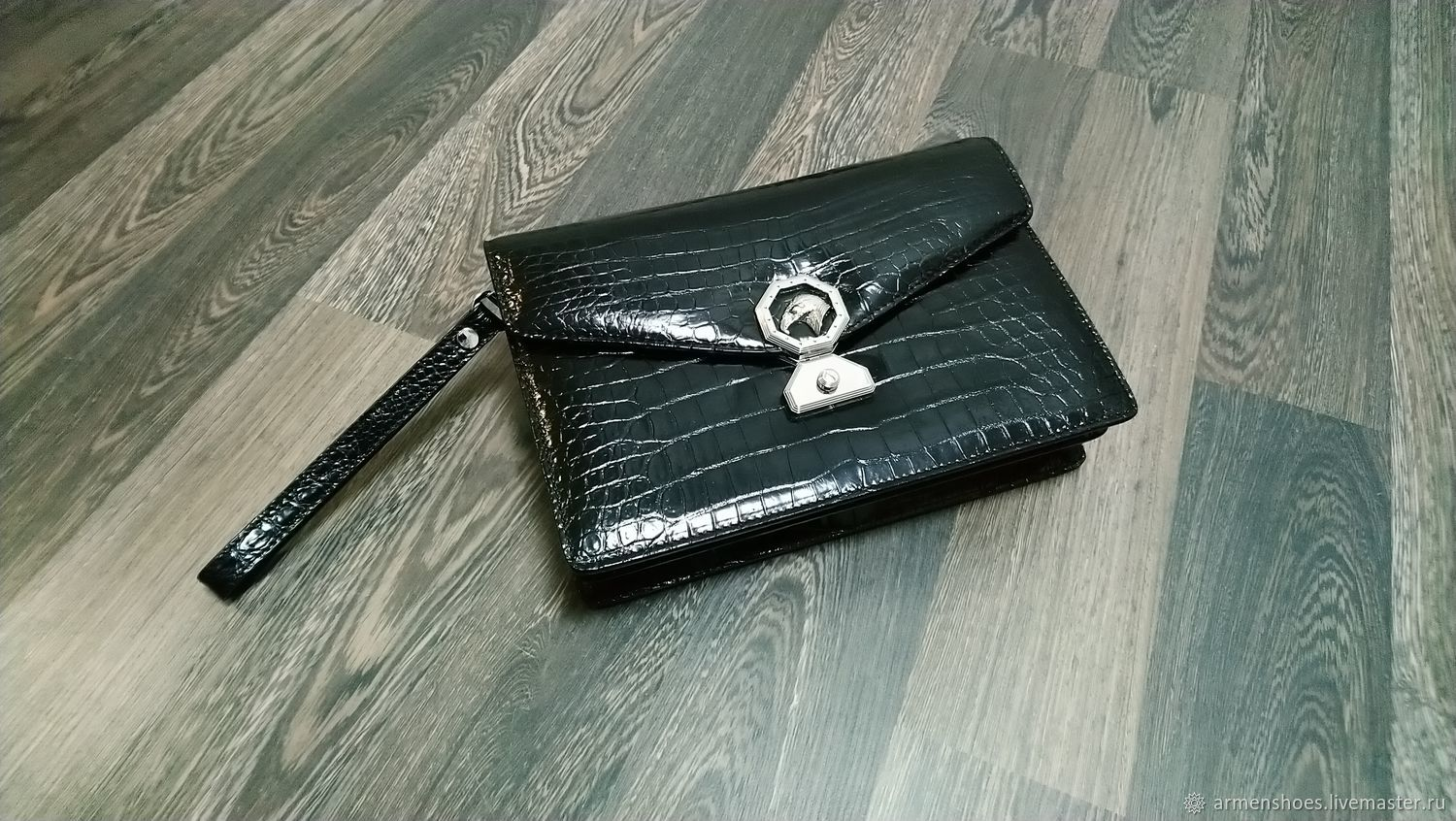 Crocodile belly clutch bag, in black, custom-made!, Clutches, Tosno,  Фото №1