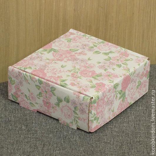 Упаковка ручной работы. Ярмарка Мастеров - ручная работа. Купить Коробочка 9х9х3,5 см микрогофрокартон розовый цветочный принт. Handmade.