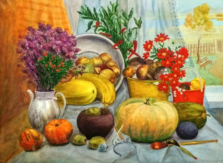 "Картина акварелью ""Осенний натюрморт"", Картины, Оренбург,  Фото №1"