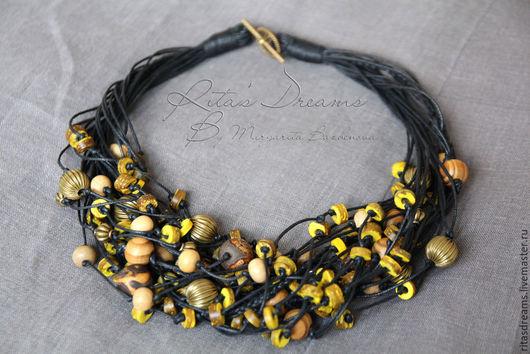 Buy Beads Dijon mustard, yellow multi-row black cord lush beads on Livemaster online shop