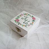 Свадебный салон ручной работы. Ярмарка Мастеров - ручная работа Peony Wed - свадебная шкатулка для обручальных колец. Handmade.