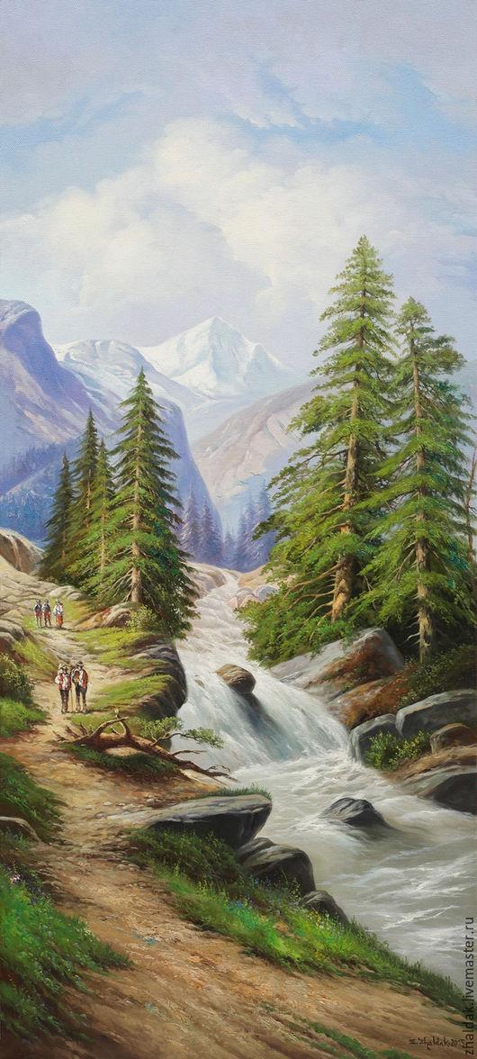 """Пейзаж ручной работы. Ярмарка Мастеров - ручная работа. Купить Картина """"Пейзаж с горами"""" (диптих). Handmade. Пейзаж с водой, ели"""