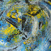 Картины и панно handmade. Livemaster - original item Oil painting, abstraction with a palette knife, blue color, Minsk,85H65. Handmade.