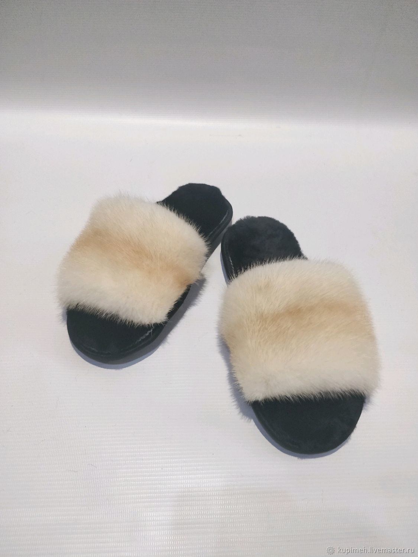 Slippers made of natural fur Mink and Sheepskin, Flip flops, Nalchik,  Фото №1