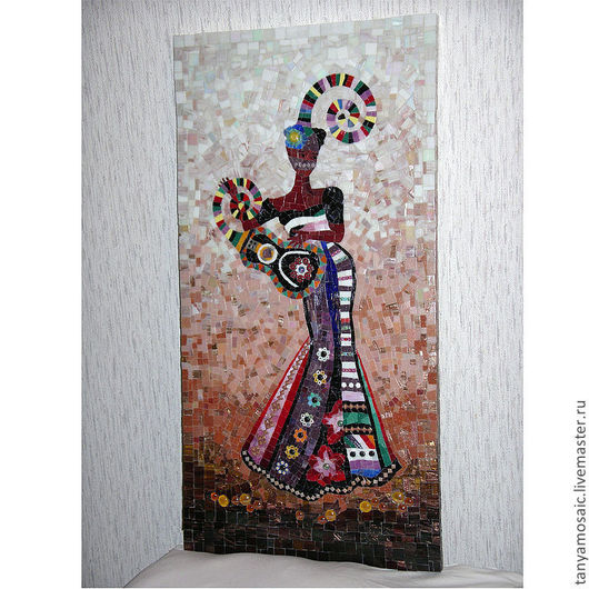 """Мозаичная картина """"Девушка с гитарой"""""""