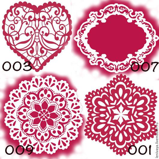 Трафареты KSA от Стамперии 15х15см Рамка, Снежинка  и Розетка 10х10см Сердце