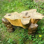 """Для дома и интерьера ручной работы. Ярмарка Мастеров - ручная работа столик деревянный  """"мир на 3 лягушках"""". Handmade."""