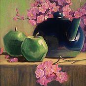 Картины и панно handmade. Livemaster - original item Painting dry pastel with a kettle Aroma of green apples. Handmade.