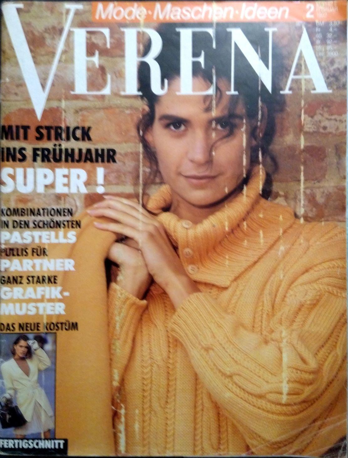 Verena, № 2/1992, Схемы для вязания, Москва,  Фото №1