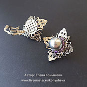 Украшения handmade. Livemaster - original item Clip-on earrings with silver Swarovski pearls and amethyst. Handmade.