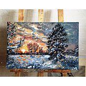Картины и панно ручной работы. Ярмарка Мастеров - ручная работа Зимний закат в лесу. Handmade.