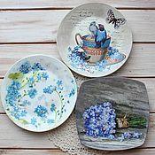 "Посуда ручной работы. Ярмарка Мастеров - ручная работа Набор настенных тарелок ""Не забудь"", тарелка на стену декупаж. Handmade."