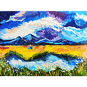Картины и панно handmade. Livemaster - original item the mountains and lake. In the embrace of nature.. Handmade.