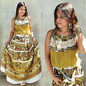 Одежда handmade. Livemaster - original item Boho-style cotton and lace sundress, long-Provence. Handmade.